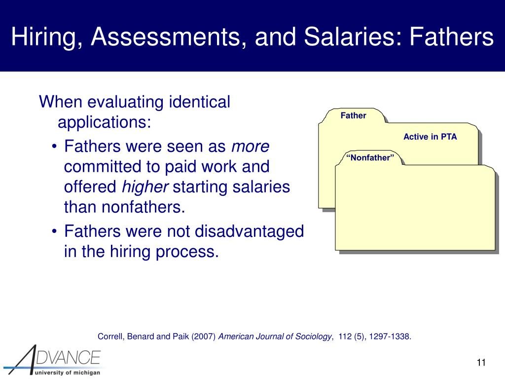 Hiring, Assessments, and Salaries: Fathers