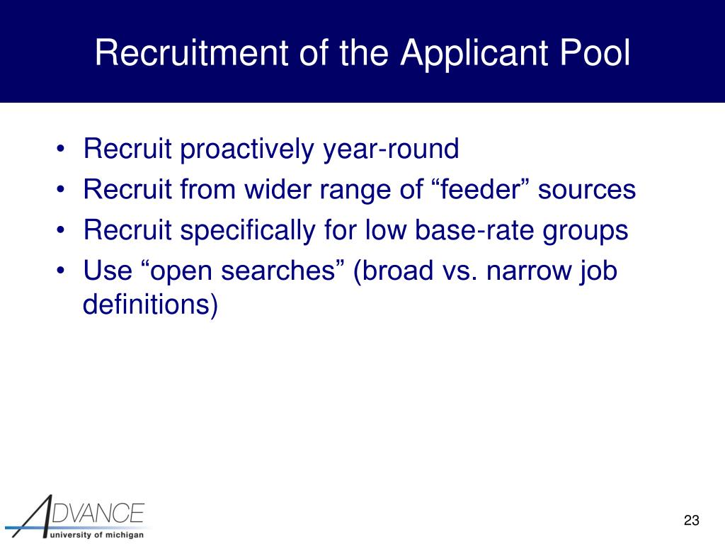 Recruitment of the Applicant Pool