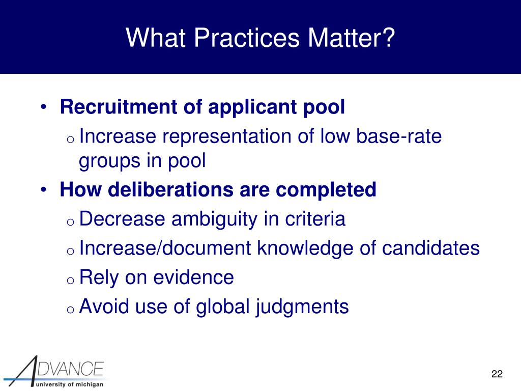 What Practices Matter?