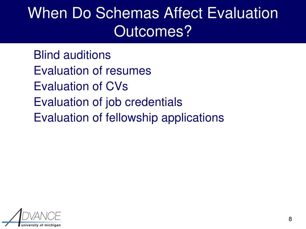 When Do Schemas Affect Evaluation Outcomes?