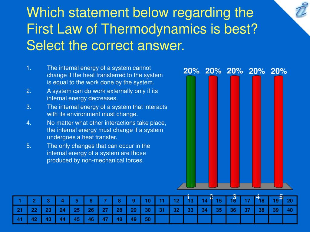 Which statement below regarding the First Law of Thermodynamics is best?    Select the correct answer.