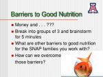 barriers to good nutrition