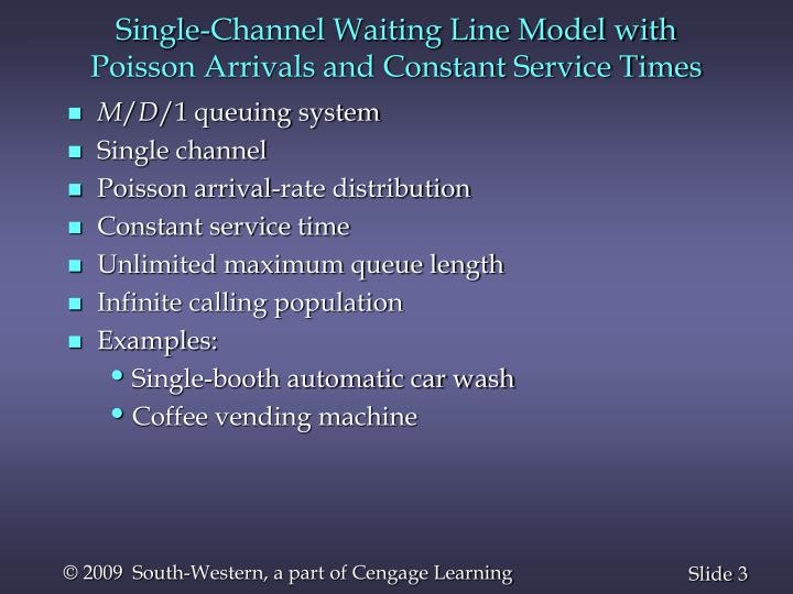 Single-Channel Waiting Line Model with Poisson Arrivals and Constant Service Times