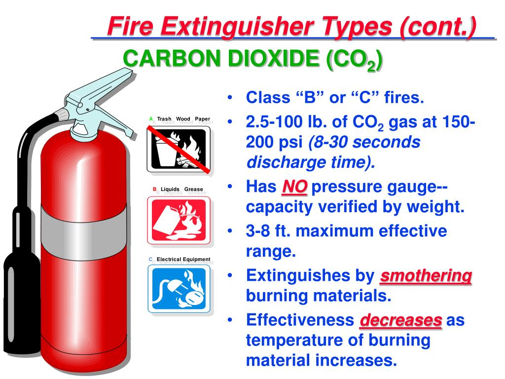 Fire Extinguisher Types (cont.)