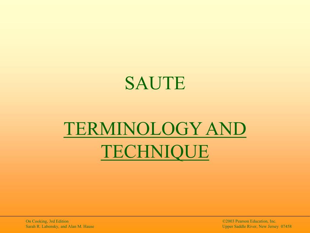 saute terminology and technique