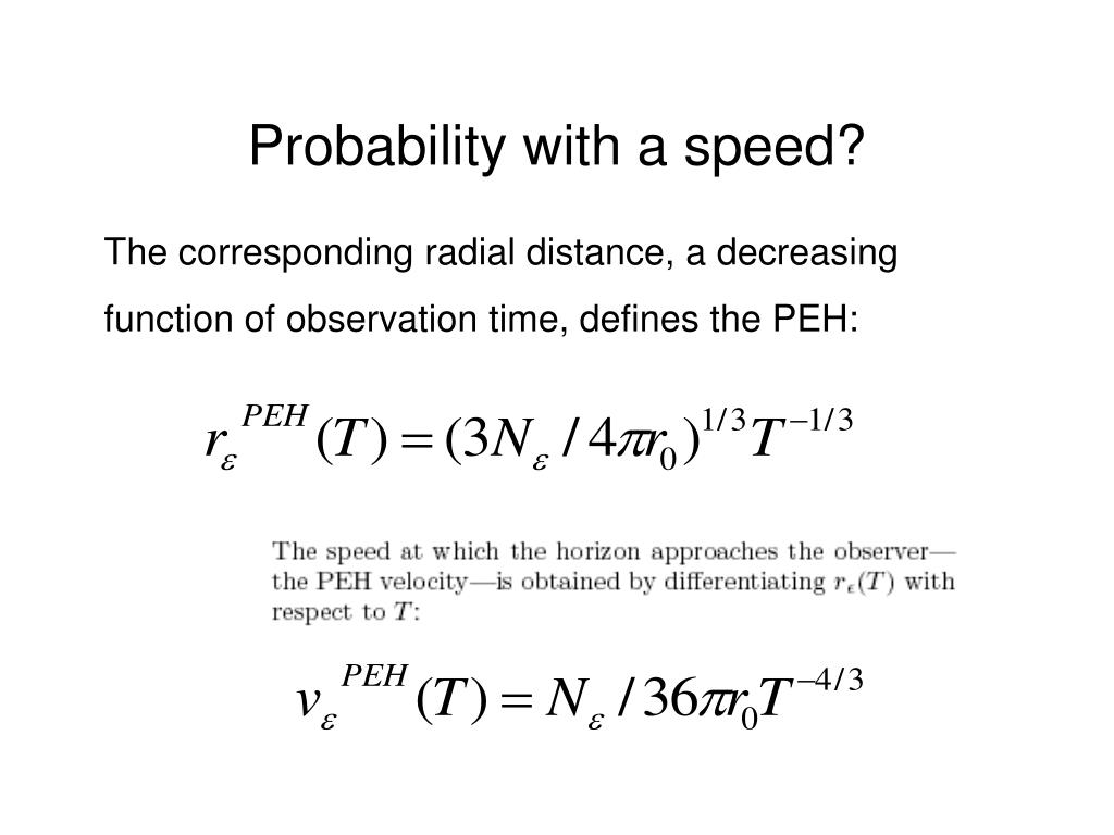 Probability with a speed?