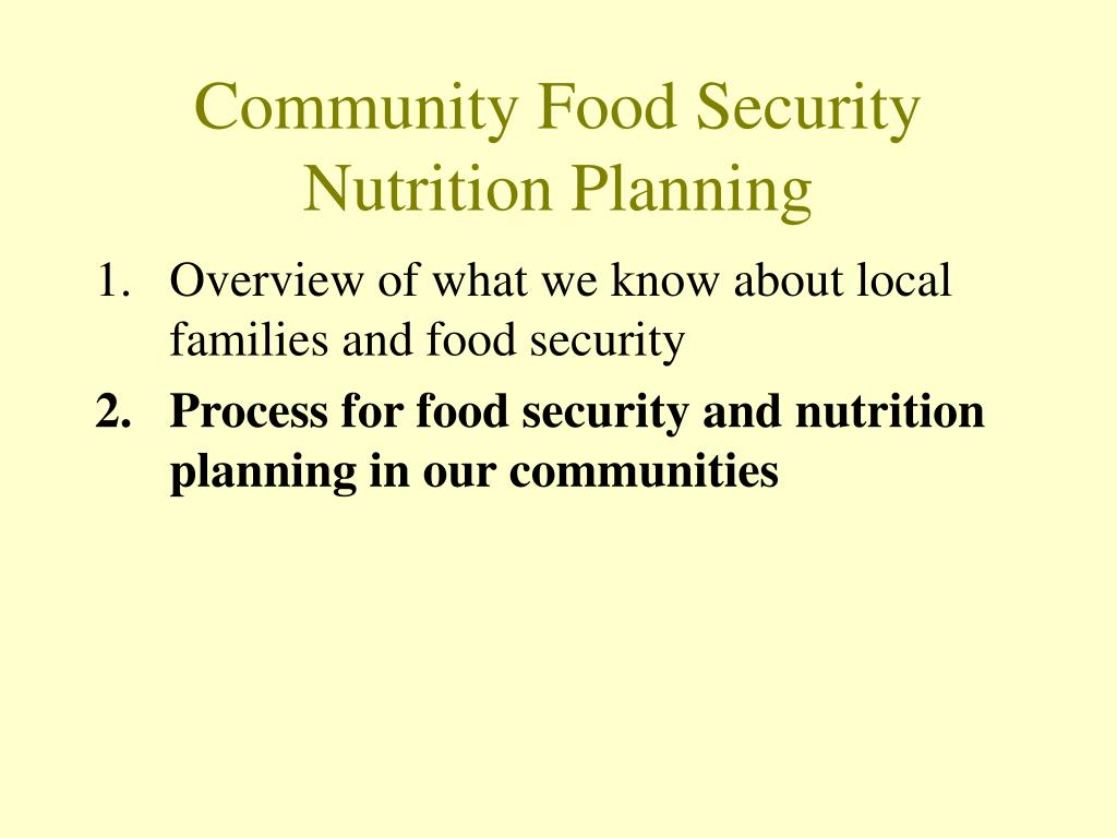 Community Food Security Nutrition Planning