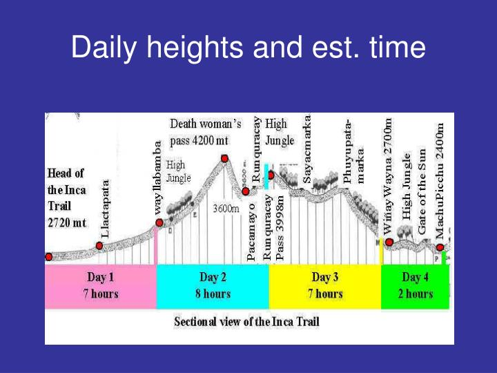 Daily heights and est time