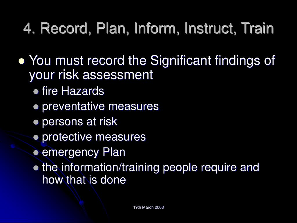 4. Record, Plan, Inform, Instruct, Train
