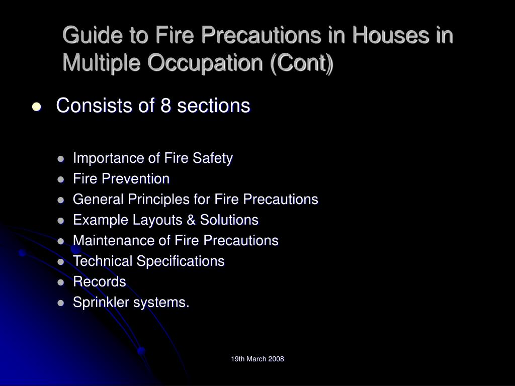 Guide to Fire Precautions in Houses in Multiple Occupation (Cont)