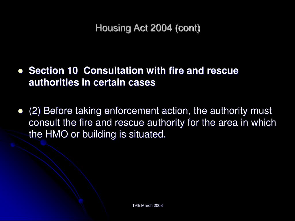 Housing Act 2004 (cont)