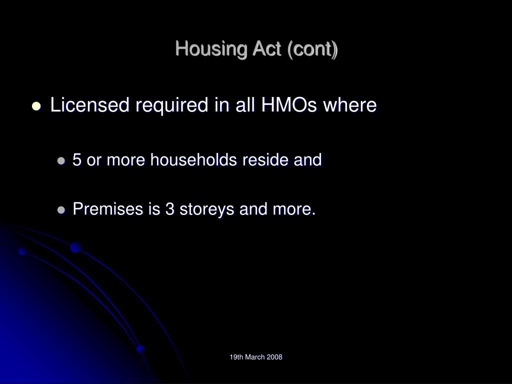 Housing Act (cont)
