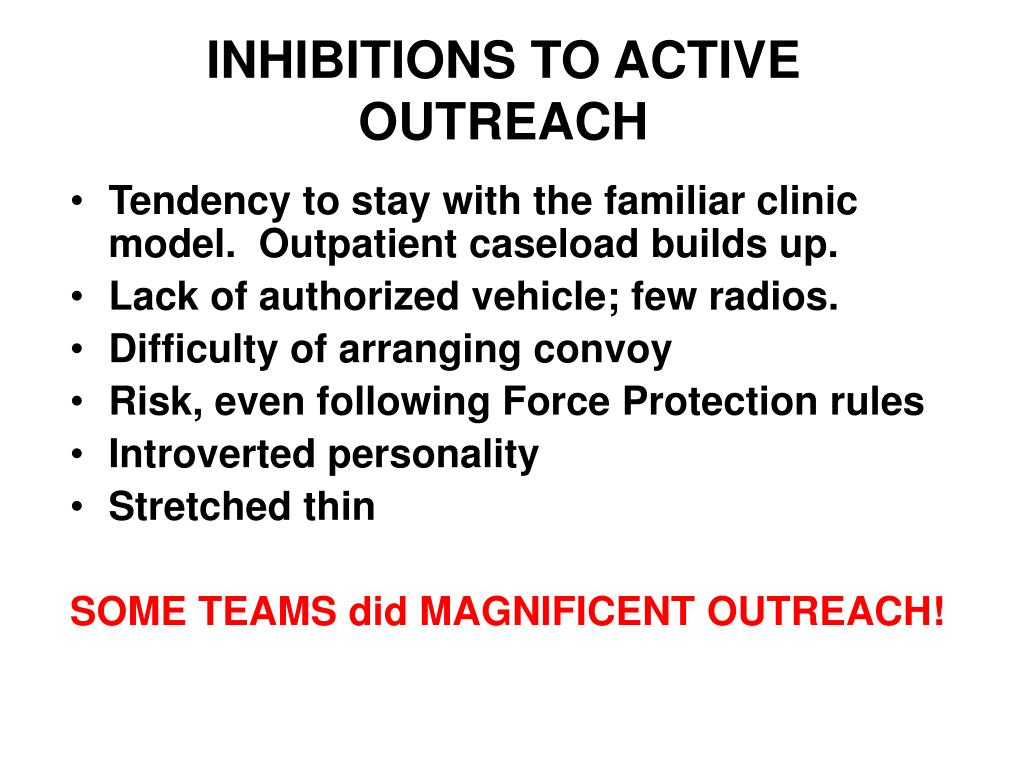 INHIBITIONS TO ACTIVE OUTREACH
