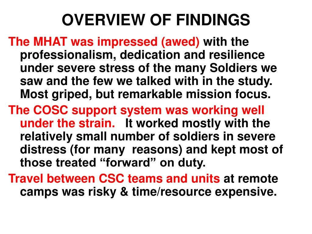 OVERVIEW OF FINDINGS