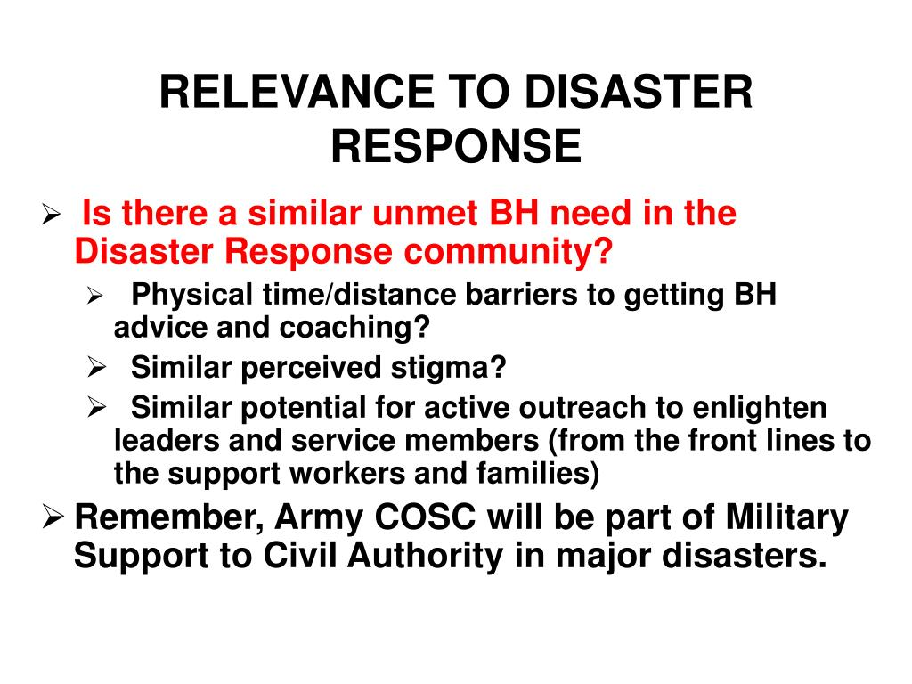 RELEVANCE TO DISASTER RESPONSE