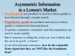asymmetric information in a lemon s market