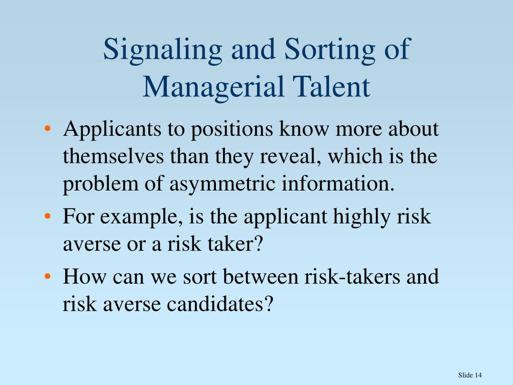 Signaling and Sorting of Managerial Talent