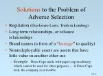 solutions to the problem of adverse selection