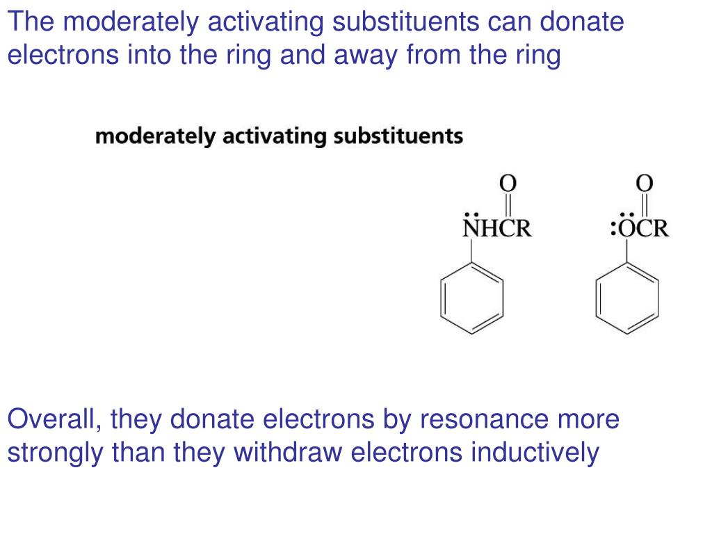 The moderately activating substituents can donate