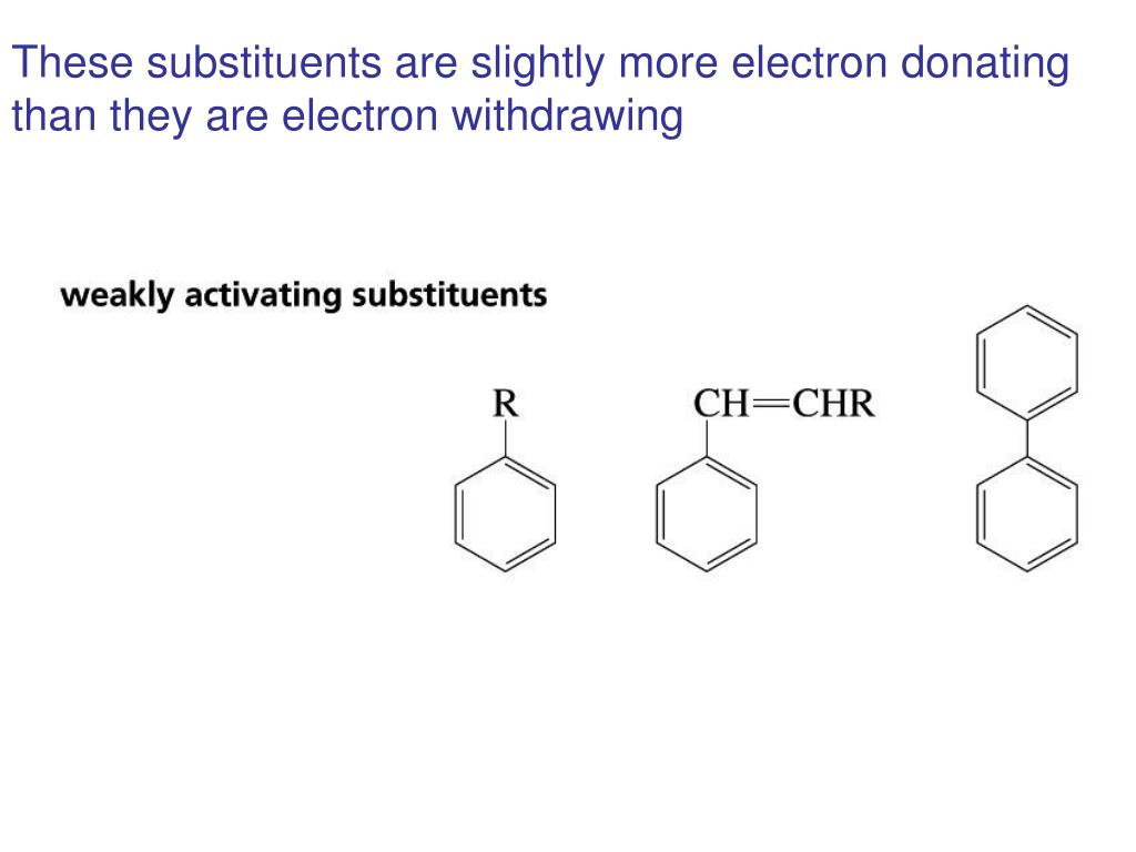 These substituents are slightly more electron donating