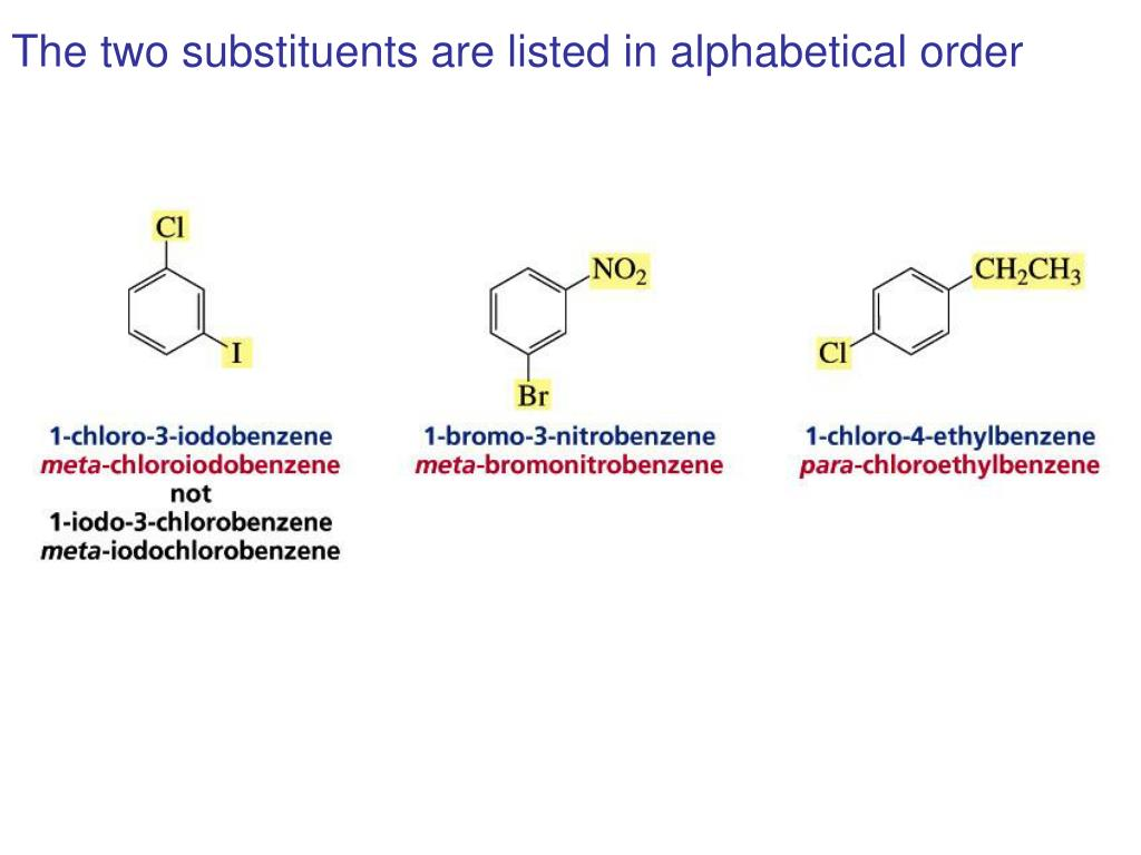 The two substituents are listed in alphabetical order