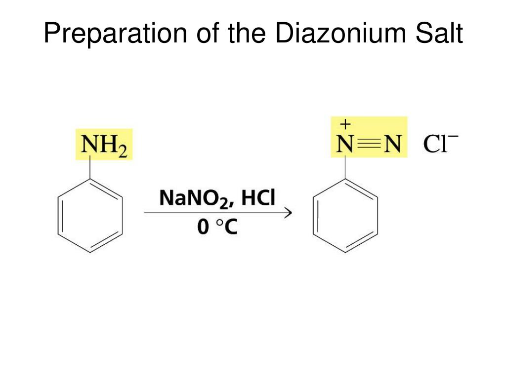 Preparation of the Diazonium Salt