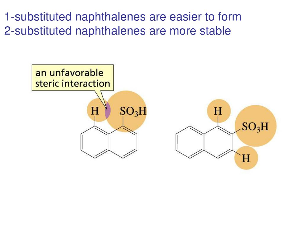 1-substituted naphthalenes are easier to form