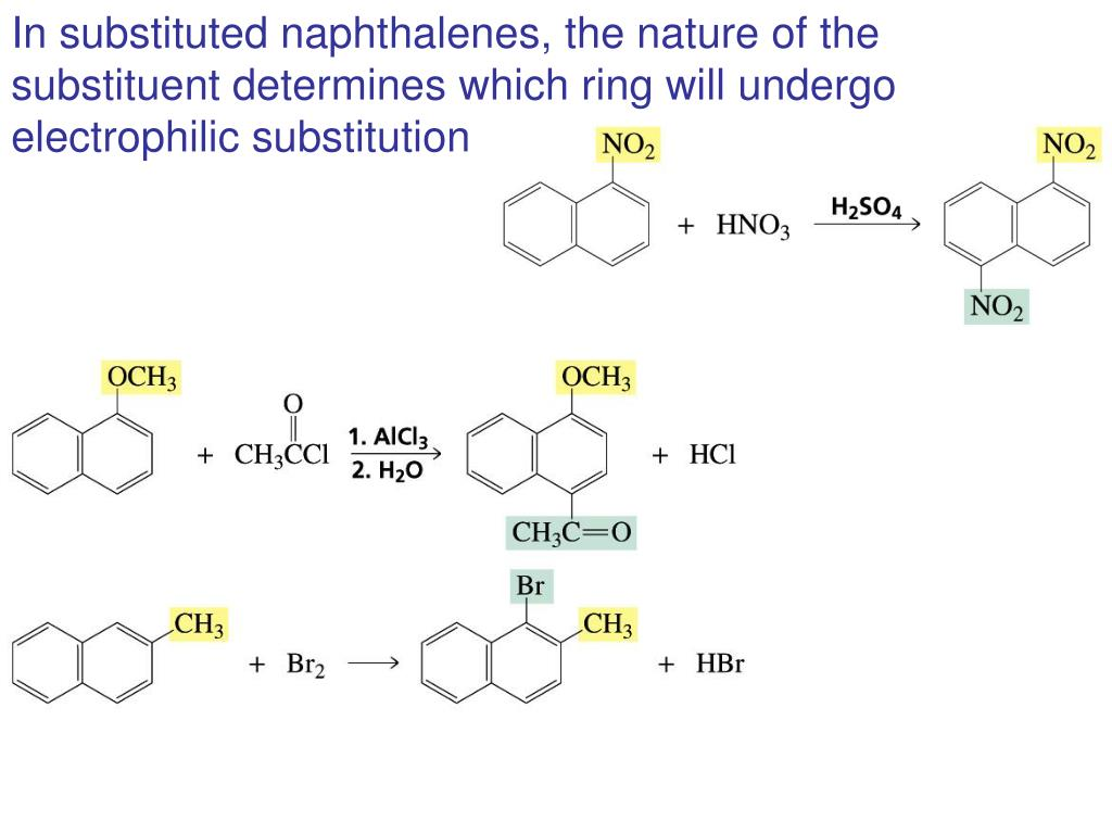 In substituted naphthalenes, the nature of the substituent determines which ring will undergo electrophilic substitution