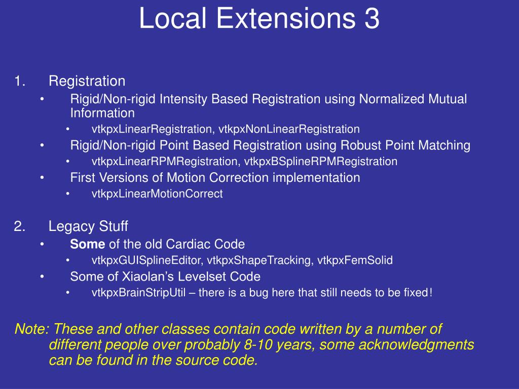Local Extensions 3