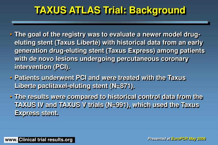 Taxus atlas trial background