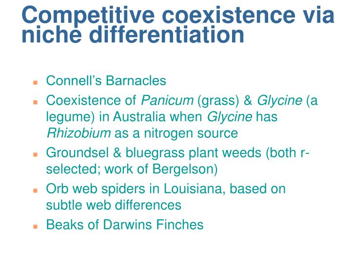 Competitive coexistence via niche differentiation