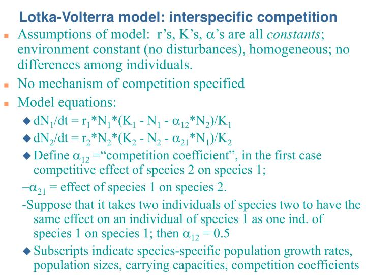 Lotka-Volterra model: interspecific competition
