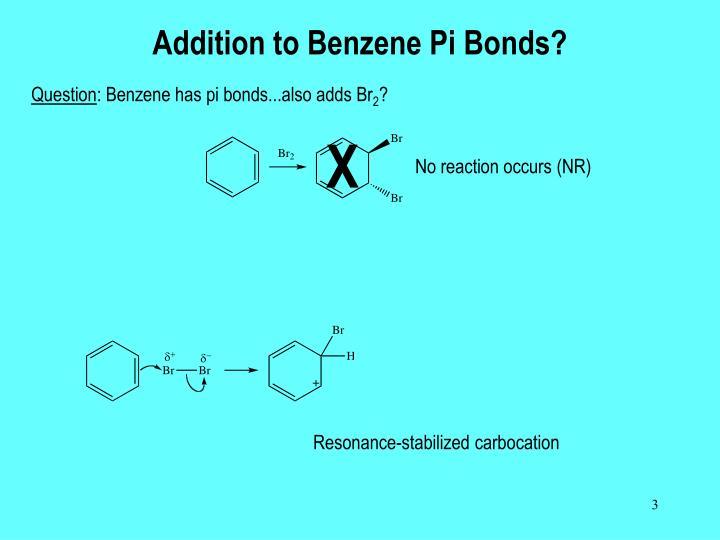 Addition to benzene pi bonds