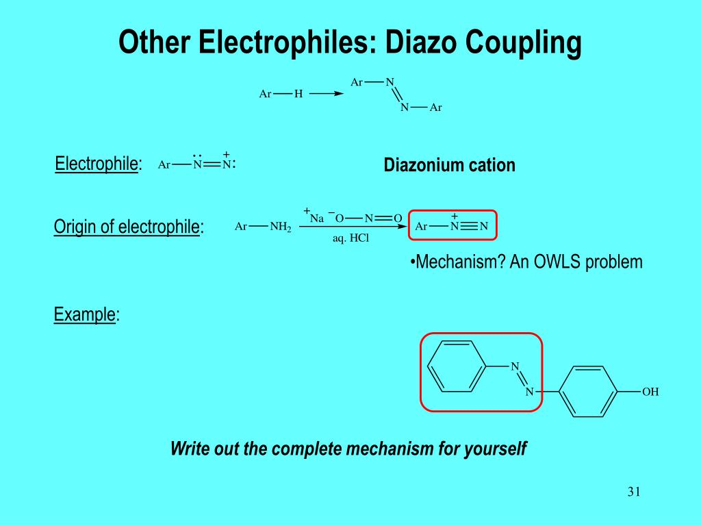 Other Electrophiles: Diazo Coupling