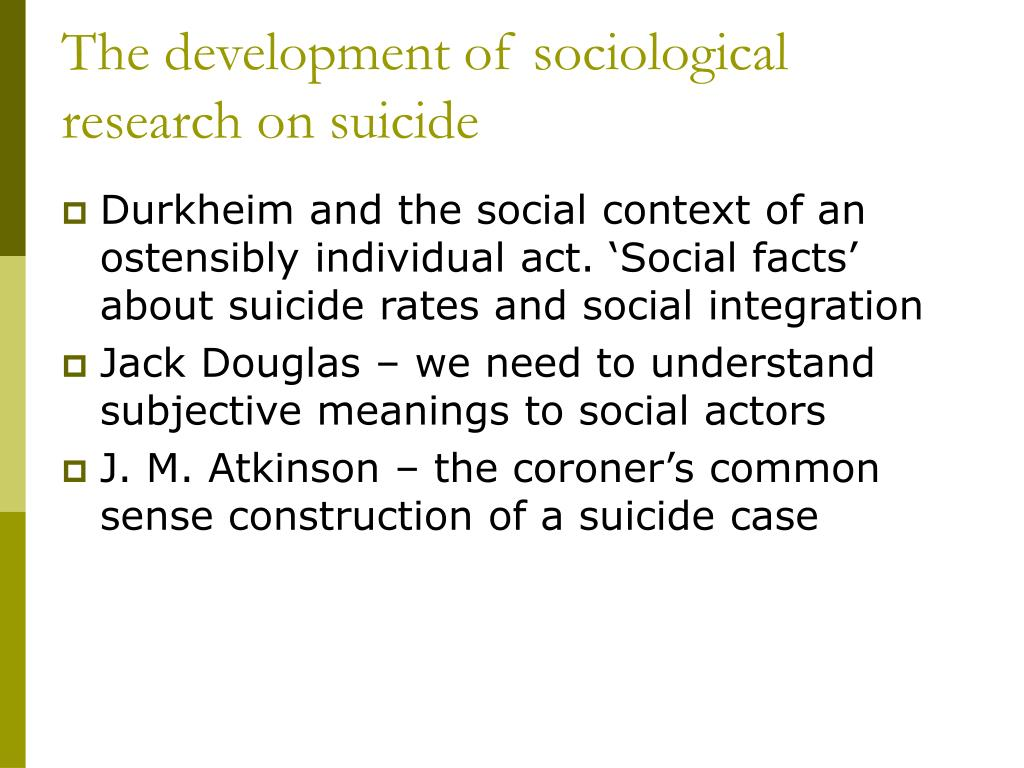 The development of sociological research on suicide