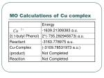 mo calculations of cu complex