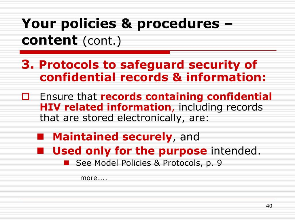 Your policies & procedures – content