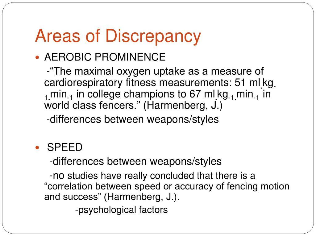 Areas of Discrepancy