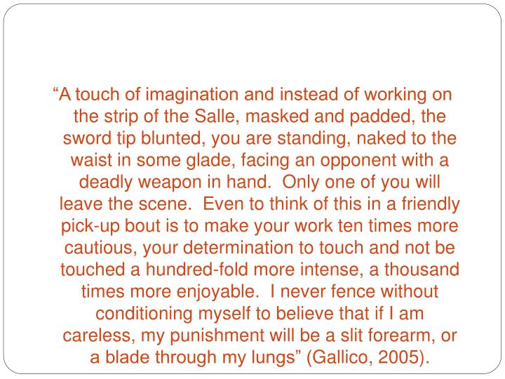 """""""A touch of imagination and instead of working on the strip of the Salle, masked and"""