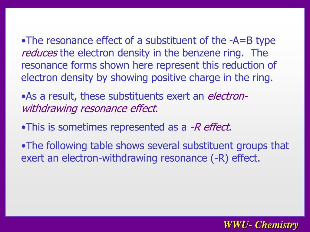The resonance effect of a substituent of the -A=B type