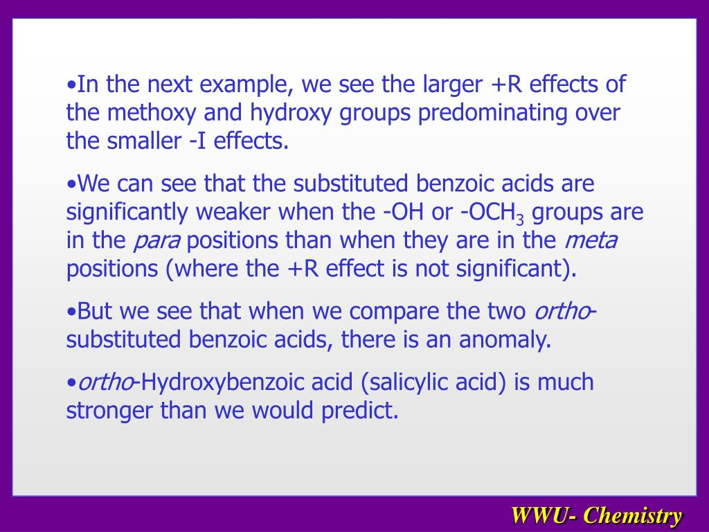 In the next example, we see the larger +R effects of the methoxy and hydroxy groups predominating over the smaller -I effects.