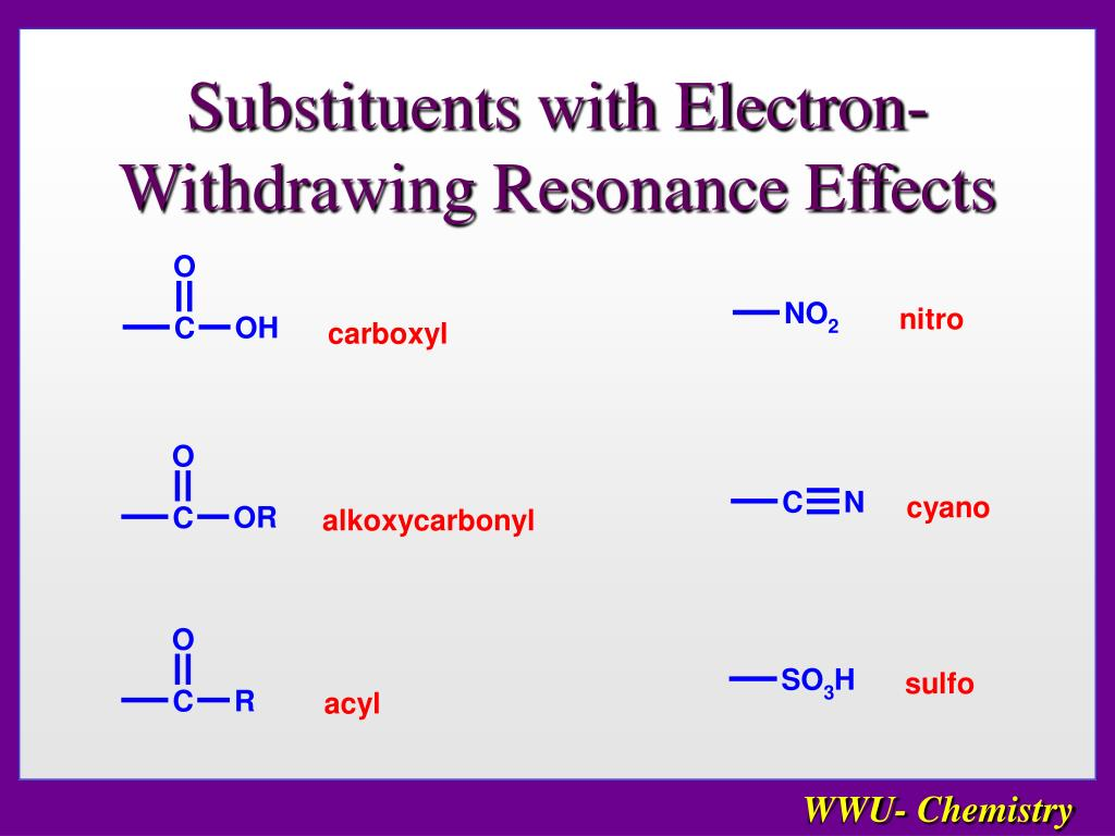 Substituents with Electron-Withdrawing Resonance Effects