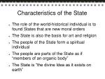 characteristics of the state