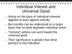 individual interest and universal good