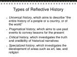 types of reflective history