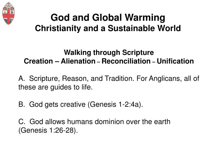 God and global warming christianity and a sustainable world3
