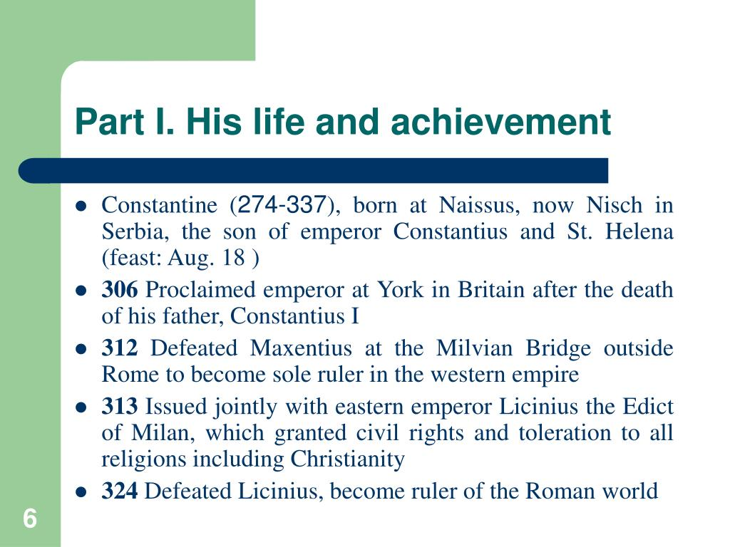 Part I. His life and achievement