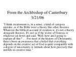 from the archbishop of canterbury 3 21 06