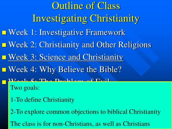 Outline of class investigating christianity2