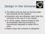 design in the universe